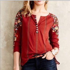 Anthropologie Tiny floral embroidered top red boho